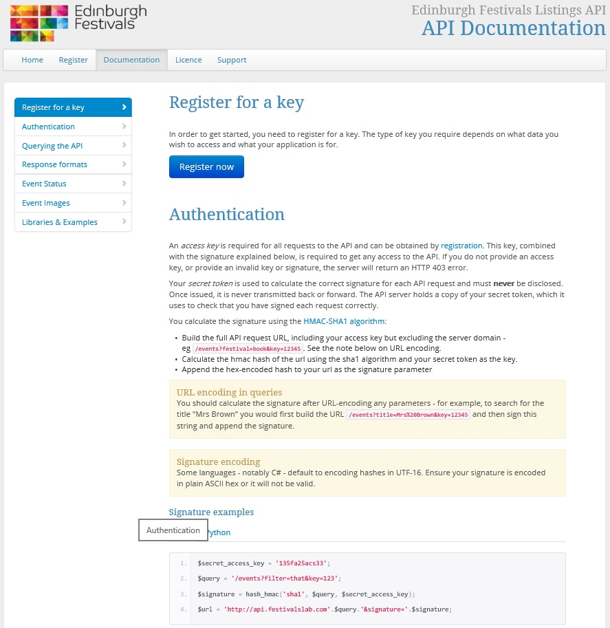API registration