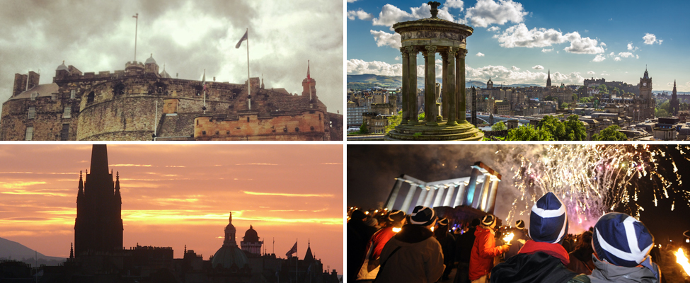 A montage of four photos showing Edinburgh Castle under cloudy skies, a view across sunny Edinburgh from Calton Hill, a red and yellow sunset with a silhouetted Edinburgh skyline and wooly hat-wearing partygoers enjoying a fireworks display at night.