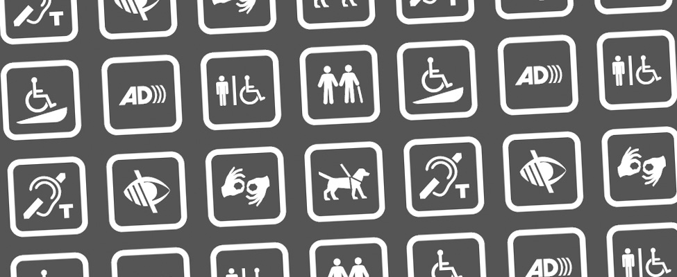 An image showing various symbols associated with accessibility, including hearing aid loop systems, audio description, sign language, accessible toilet facilities, guide dog friendliness and staff inclusion training