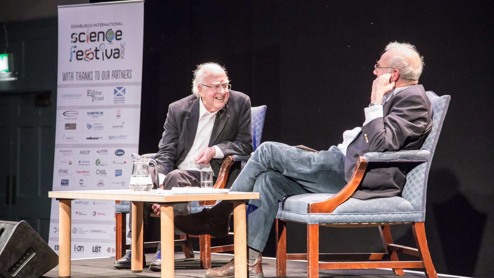 A Conversation with Peter Higgs at the 2014 Science Festival, photographer Ali Wight, credit Edinburgh International Science Festival