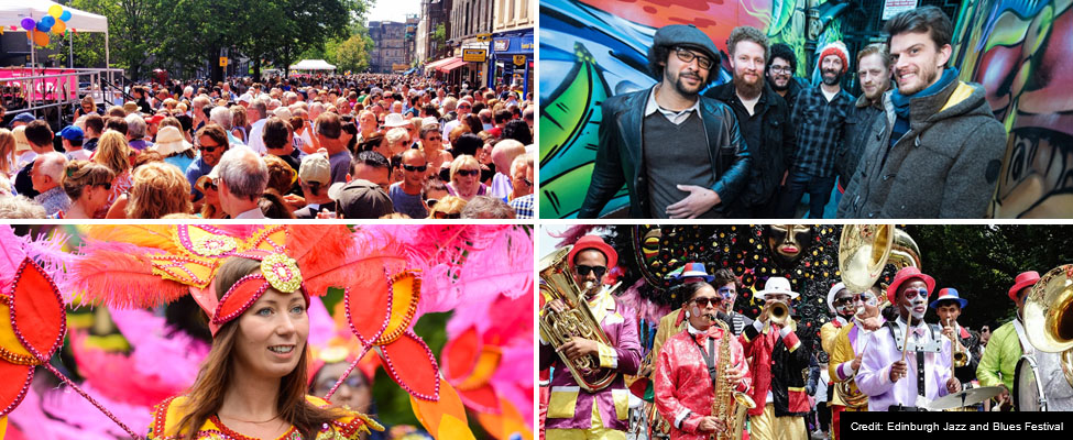 Four images of crowds and performers at the Mardi Gras and Festival Carnival