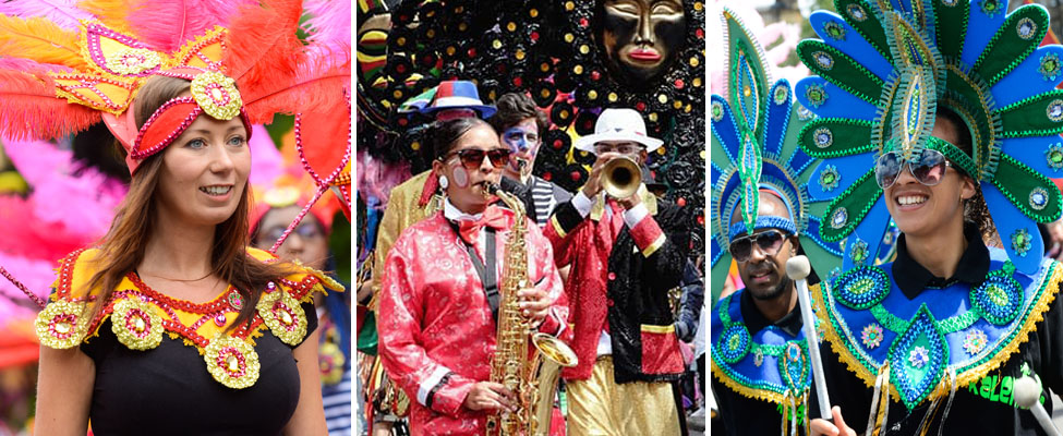 Three images of brightly costumed performers at the Festival Carnival