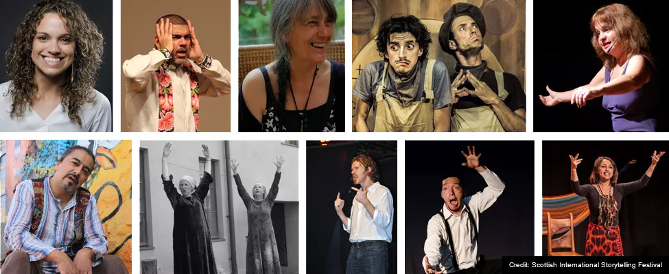 A montage of 10 photos showing individuals and pairs of storytellers, with a mix of posed and 'in-performance' shots.