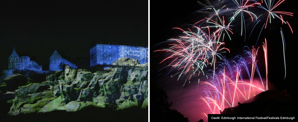 A montage of two photos, the first showing a moment from Deep Time, the second showing a burst of pink,blue and white fireworks