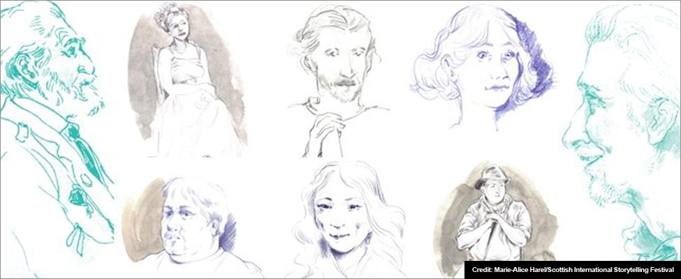 Image - 8 blue and grey sketches by Marie-Alice Harel, showing some of the men and women taking part in the 2016 Scotish International Storytelling Festival