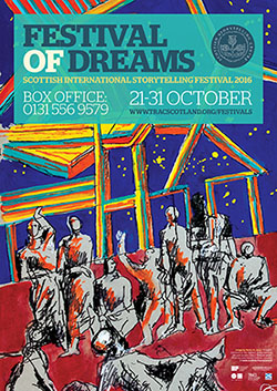 An image of the front cover of the brochure for 2016's Scottish International Storytelling Festival, showing the full image of Dario Fo's Il Sogno, overlaid with logos and information about the festival.