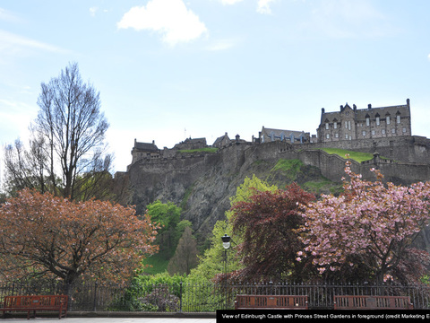 View of edinburgh castle with princes street gardens in foreground   credit marketing edinburgh cap gallery thumbnail