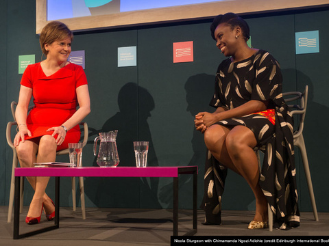 Nicola sturgeon with chimamanda ngozi adichie cap gallery thumbnail