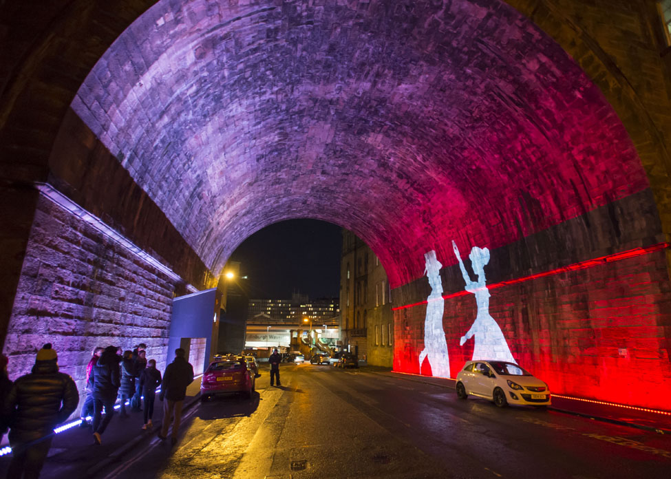 Edinburghs Hogmanay Message from the Skies Regent Bridge Chris Watt