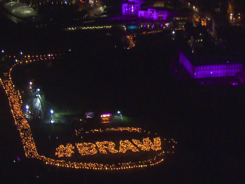 Helicopter shot of scotword braw by mike penman festival listing