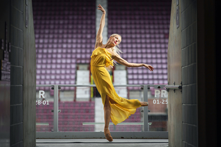 Dancer eve mutso poses at festival venue tynecastle park to celebrate the launch of the 2019 edinburgh international festival programme photo ian georgeson 2 listing